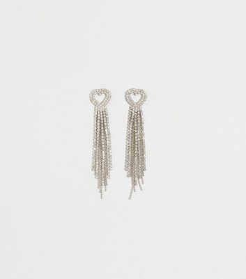 Silver Heart Diamanté Tassel Drop Earrings