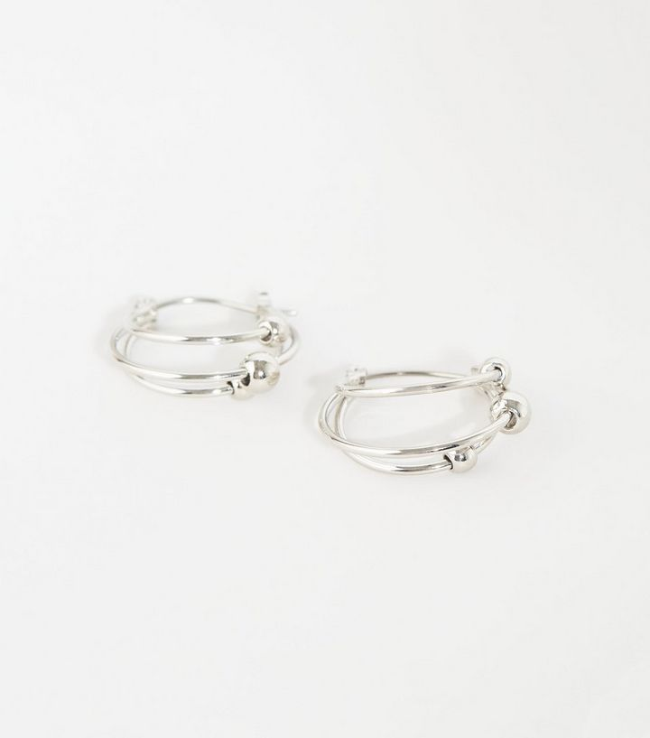 Silver Mini Bead Triple Hoop Earrings Add To Saved Items Remove From