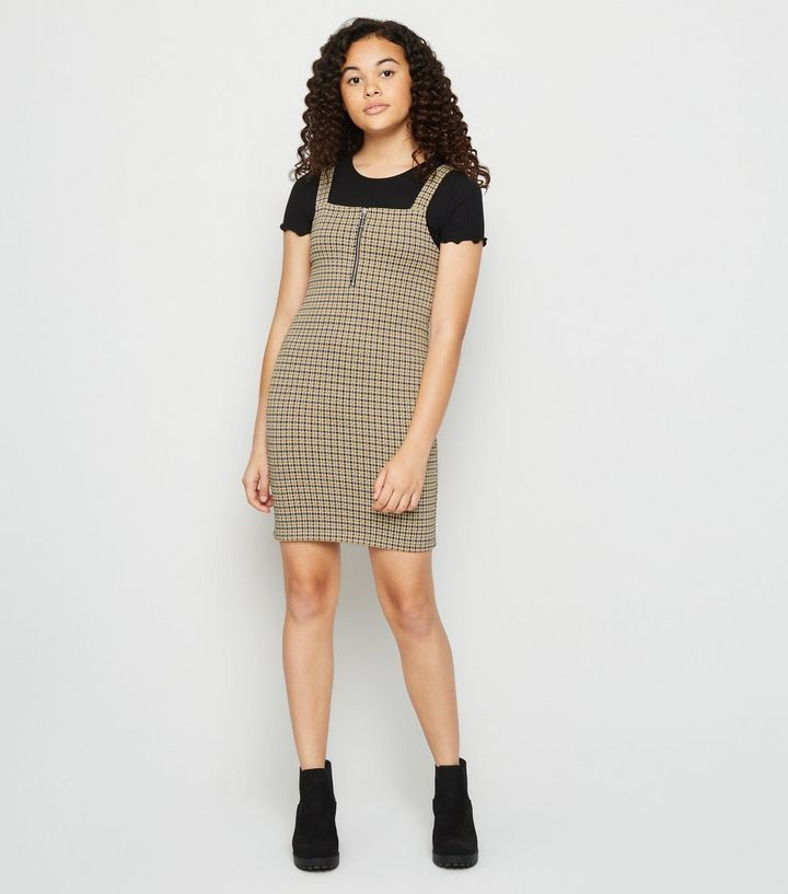 save off quality first unique style Girls Mustard Check Jacquard Pinafore Dress Add to Saved Items Remove from  Saved Items