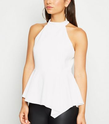 Petite Cream High Neck Peplum Top