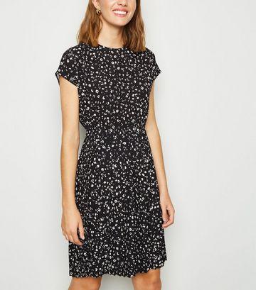Black Animal Print Pleated Mini Dress