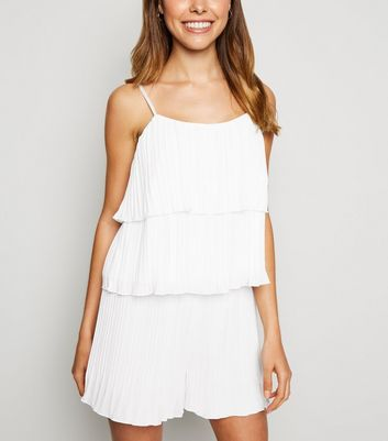 White Pleated Tiered Cami