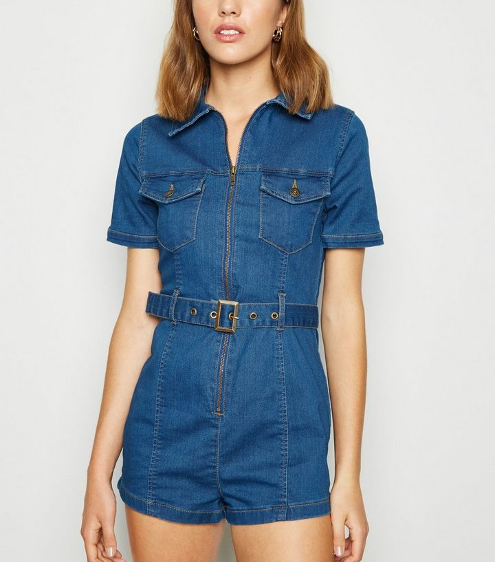 famous designer brand exquisite style wholesale online Blue Denim Zip Up Utility Playsuit Add to Saved Items Remove from Saved  Items