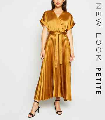 Petite Mustard Pleated Satin Midi Dress