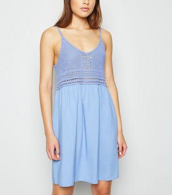 Tokyo Doll Pale Blue Crochet Sundress New Look