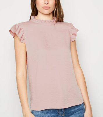 Pale Pink Frill Trim Sleeveless Blouse