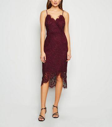 Burgundy Lace Asymmetric Wrap Midi Dress