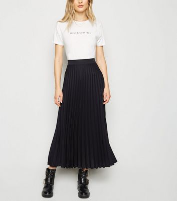 Tall Black Pleated Midi Skirt