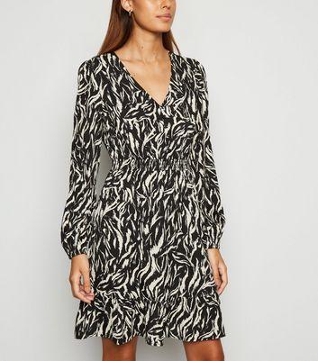 Black Zebra Print Button Up Mini Dress by New Look