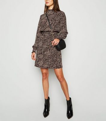 Black Animal Print Long Sleeve Dress
