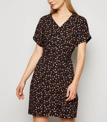 Black Ditsy Floral Print Belted Tunic Dress