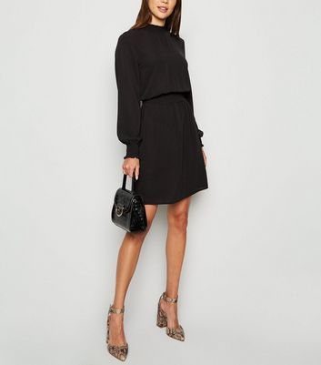 Black Shirred Neck Mini Dress