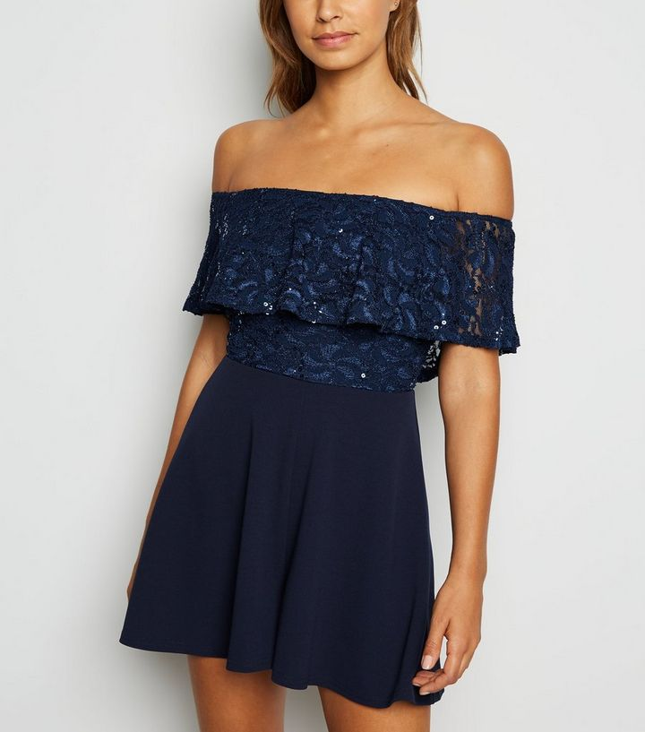 replicas provide plenty of sells Navy Sequin Lace Bardot Playsuit Add to Saved Items Remove from Saved Items