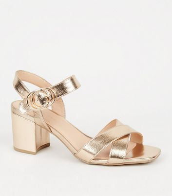 Wide Fit Rose Gold Block Heel Sandals