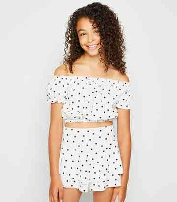 Girls White Spot Print Skort