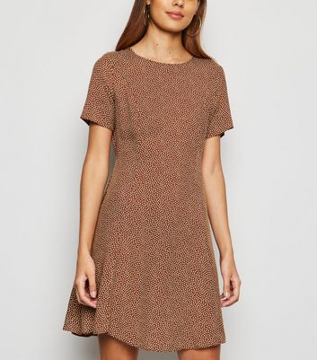 Brown Spot Smock Dress
