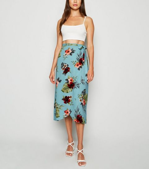 bbb44effe ... Blue Tropical Floral Wrap Midi Skirt ...