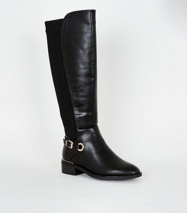 select for official nice cheap new specials Wide Fit Black Leather-Look Knee High Boots Add to Saved Items Remove from  Saved Items