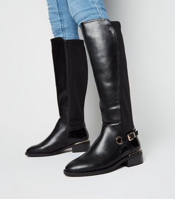 Wide Fit Black Leather,Look Knee High Boots Add to Saved Items Remove from  Saved Items