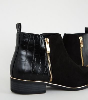 Girls Black Faux Croc Panel Piped Ankle