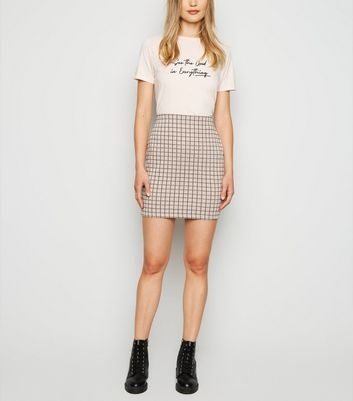 Pink Check Tube Skirt