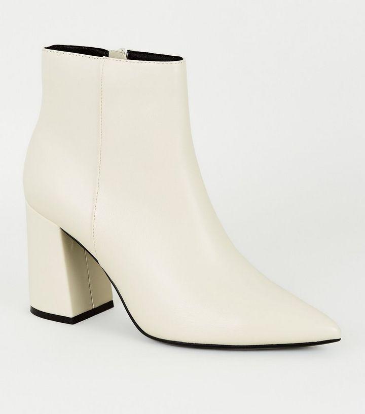off white/ cream heeled boot