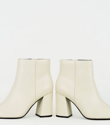 Off White Pointed Ankle Boots   New Look