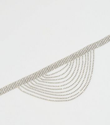 Silver Diamanté Layered Choker