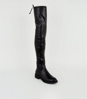 Black Leather-Look Chunky Over the Knee Boots
