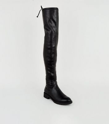 Black Chunky Over the Knee Boots   New Look