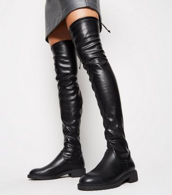 Black Chunky Over the Knee Boots | New Look