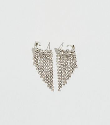 Silver Diamanté Tassel Ear Cuffs