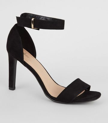 Black Suedette Slim Heel Sandals