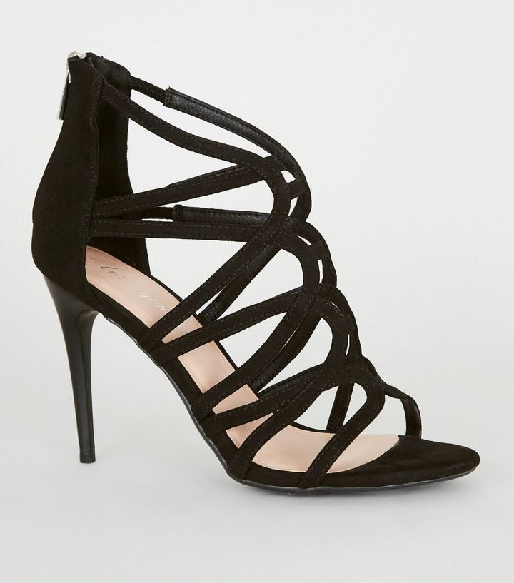 sneakers huge selection of great prices Black Suedette Strappy Stiletto Heels | New Look