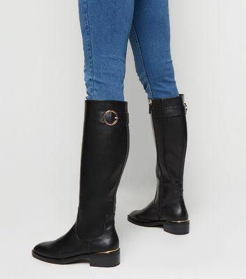 Black Leather-Look Ring Buckle Knee