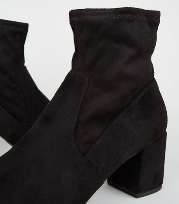 Click to view product details and reviews for Black Suedette Square Toe Sock Boots New Look Vegan.