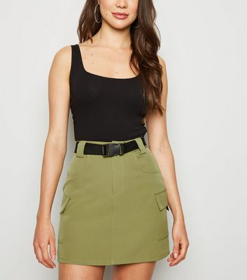 Cameo Rose Khaki Clip Belt Utility Skirt