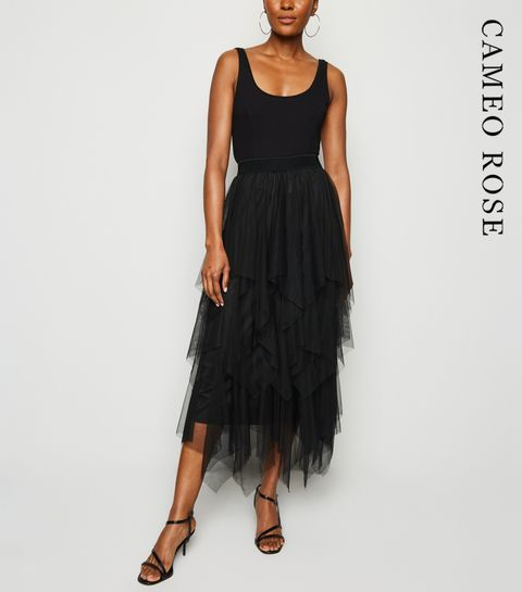 fd6d1175a3 ... Cameo Rose Black Layered Mesh Skirt ...