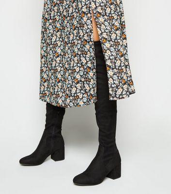 Overknee Stiefel in Veloursleder Optik mit Absatz
