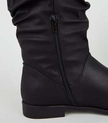 Black Leather-Look Slouch Calf Boots
