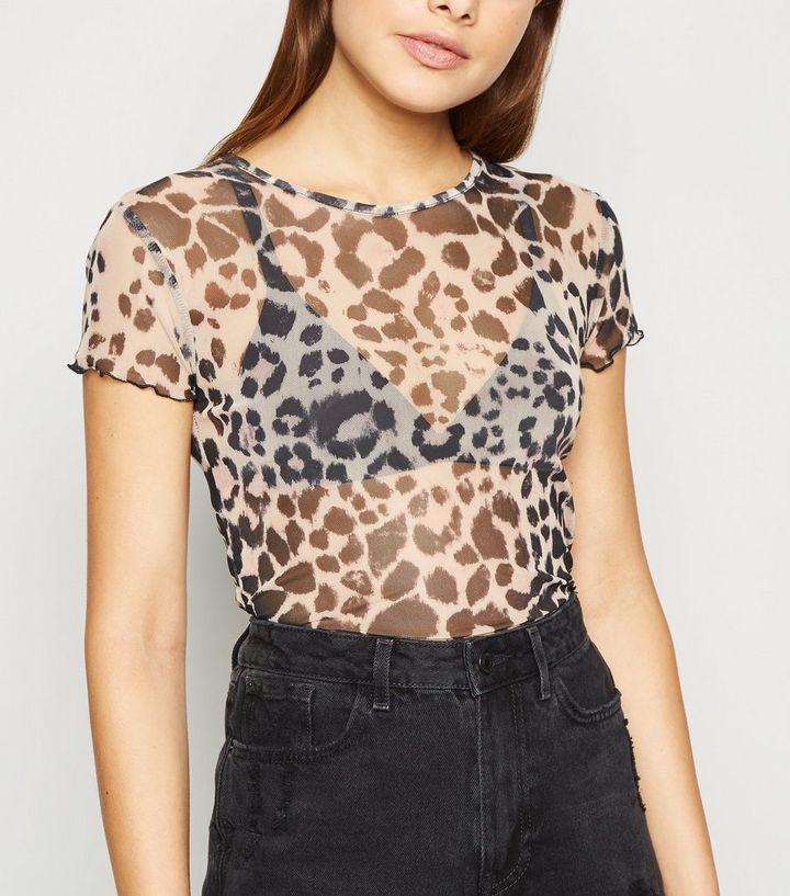 773633f23b7a72 Carpe Diem Brown Leopard Mesh T-Shirt | New Look