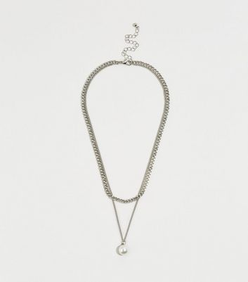 Silver Faux Pearl Chain Necklace