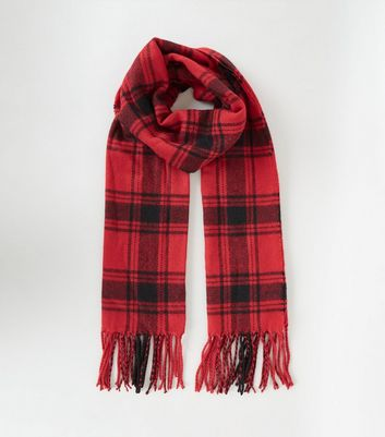 Red Check Scarf by New Look
