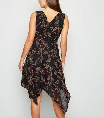 Mela Black Floral Hanky Hem Midi Dress New Look