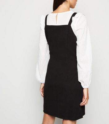 Mela Black Button Up Pinafore Dress New Look