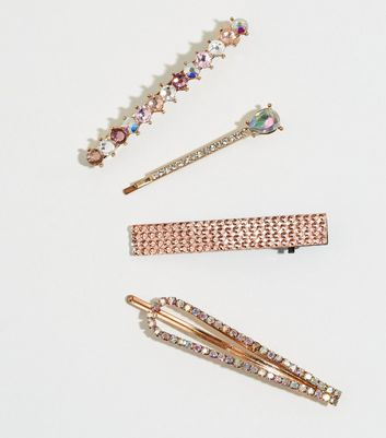 4 Pack Multicoloured Mixed Diamanté Hair Slides by New Look