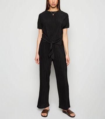 Black Plissé Wide Leg Trousers