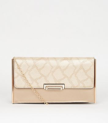 shop for Gold Faux Snake Structured Clutch Bag New Look Vegan at Shopo