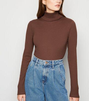 Dark Brown Ribbed Long Sleeve Roll Neck Top