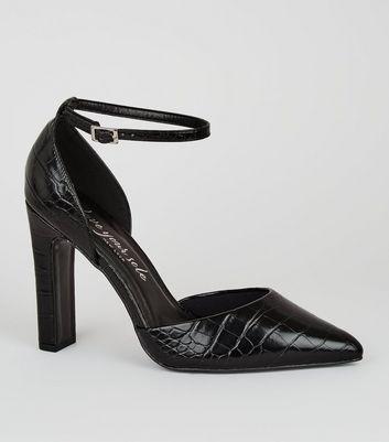Wide Fit Black Patent Faux Croc Court